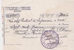LEGION FRANCAISE COMBATTANTS LFC VOLONTAIRES REVOLUTION NATIONALE 1943 MONTAUBAN DON 700F - 1939-45