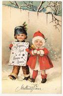 Bonne Année--Meilleurs Voeux -- Illustrateur  ????? ---  Enfants Dans La Neige - New Year