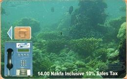 Erithrea - Eritel, ER-ERI-0014A, The Underwater Scene, CN: 50, 14 Nfk, Heavily Used - Erythrée