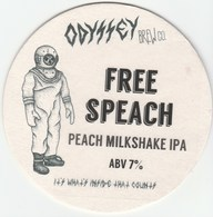 ODYSSEY BREW CO (WHITBOURNE, ENGLAND) - FREE SPEACH - KEG CLIP FRONT/BEERMAT (SEE DESCRIPTION) - Signs