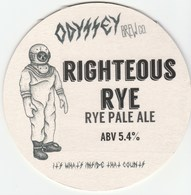 ODYSSEY BREW CO (WHITBOURNE, ENGLAND) - RIGHTEOUS RYE - KEG CLIP FRONT/BEERMAT (SEE DESCRIPTION) - Uithangborden