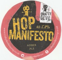 CRAFTY DEVIL BREWING CO (CARDIFF, WALES) - HOP MANIFESTO - LAMINATED KEG CLIP FRONT - Signs