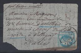 """1871 - LETTRE """" PAR BALLON MONTÉ """" (TENTATIVE D'ENTRÉE) De LILLE Pour PARIS OBL. CAD NAPOLEON LAURÉ MILITAIRE MIGNON - Marcophilie (Lettres)"""