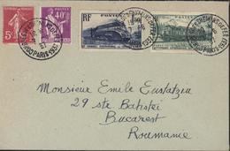 Cachet Congrès Des Chemins De Fer Paris 1937 YT 278 B 281 339 340 Pour La Roumanie - Commemorative Postmarks