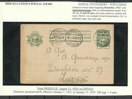LETTLAND Latvia 1924 Ganzsache Postal Stationery 4 S. Priekule To Liepaja - Lettonie