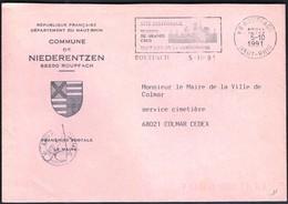 France Rouffach 1991 / Commune De Niederentzen / Coat Of Arms / History / Gastronomy / Machine Stamp / EMA - 1961-....