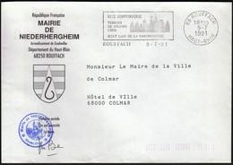 France Rouffach 1991 / Mairie De Niederhergheim / Coat Of Arms / History / Gastronomy / Machine Stamp / EMA - 1961-....