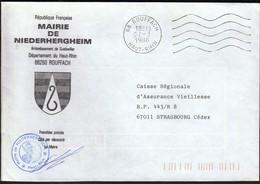 France Rouffach 1986 / Mairie De Niederhergheim / Coat Of Arms - Postmark Collection (Covers)