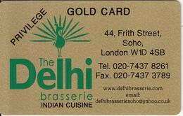 UK - Delhi Brasserie, Gold Privilege Member Card, Exp.date 12/13, Used - Unclassified