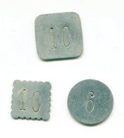 """Lot De 3 Jetons De Nécessité Aluminium """" 10, 10 Et 6 """"  Jeton à Déterminer - Non Classés"""