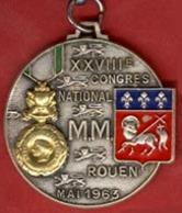 ** PORTE - CLEFS  XXVIII  CONGRES  NATIONAL  MEDAILLE  MILITAIRE  -  ROUEN  1963 ** - Porte-clefs