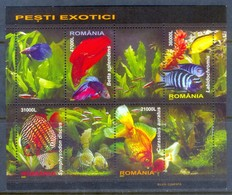 H106- ROMANIA 2005. GOLD FISHS. POISSONS. FISCHE. - Fishes