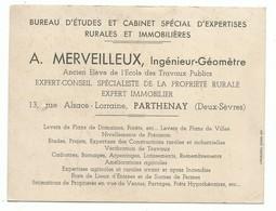 Carte De Visite Bureau D' études Rurales Et Immobilières Ingénieur Géomètre Parthenay 79 Fermage Cadastre.arpentage.. - Visiting Cards