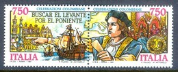 H114- Italia, Italy, Italie 1991. Discovery Of America Columbus. - Christopher Columbus