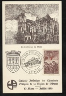 Carte Postale Amicale Des Cheminots De L' Ouest Expo Phil Le Mans Cachet Illustré Le 10 Juillet 194 Avec N° 489 Seul TB - France