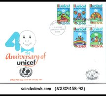 KENYA - 1987 40th ANNIVERSARY OF UNICEF - 4V - FDC - Kenya (1963-...)