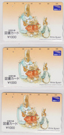 LOT De 3 Cartes 3 Versos Japon ** ONE PUNCH ** - PETER RABBIT - PIERRE LAPIN - Animal Comics Japan Tosho Cards - 226 - Tarjetas Telefónicas
