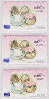 LOT De 3 Cartes 3 Versos Japon ** ONE PUNCH ** - PETER RABBIT - PIERRE LAPIN - Animal Comics Japan Tosho Cards - 227 - Télécartes