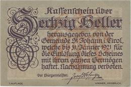 Austria 60 Heller 31-1-1921, St. Johann (Tirol) 898a UNC - Austria