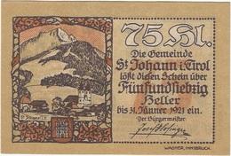 Austria 75 Heller 31-1-1921, St. Johann (Tirol) 898b UNC - Austria