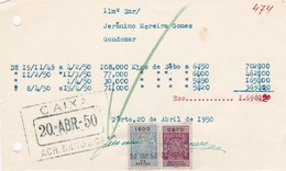 PORTUGAL COMMERCIAL INVOICE - GONDOMAR  - FISCAL STAMPS - Portugal