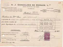 PORTUGAL COMMERCIAL INVOICE - LEIXÕES  - FISCAL STAMPS - Portugal