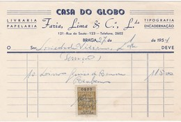 PORTUGAL COMMERCIAL INVOICE - CASA DO GLOBO - BRAGA  - FISCAL STAMPS - Portugal