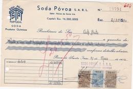 PORTUGAL COMMERCIAL INVOICE - QUIMICOS - SODA PÓVOA    - FISCAL STAMPS - Portugal