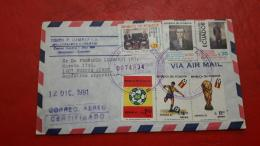 L'Équateur Enveloppe Circulé De Divers Timbres - Fußball-Weltmeisterschaft