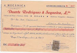 PORTUGAL COMMERCIAL INVOICE - A MECÂNICA - BRAGA     - FISCAL STAMPS - Portugal
