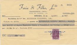 PORTUGAL COMMERCIAL INVOICE - TRANSPORTES FAFIL  - BRAGA     - FISCAL STAMPS - Portugal