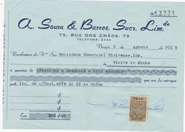 PORTUGAL COMMERCIAL INVOICE - A. SOUSA & BARROS   - BRAGA     - FISCAL STAMPS - Portugal