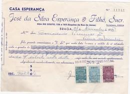 PORTUGAL COMMERCIAL INVOICE - CASA ESPERANÇA    - BRAGA     - FISCAL STAMPS - Portugal