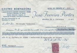 PORTUGAL COMMERCIAL INVOICE - ELECTRO BOBINADORA   - BRAGA     - FISCAL STAMPS - Portugal