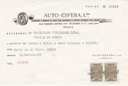 PORTUGAL COMMERCIAL INVOICE - AUTO ESFERA    - BRAGA     - FISCAL STAMPS - Portugal