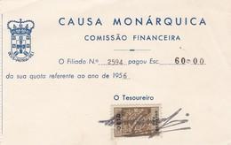 PORTUGAL COMMERCIAL INVOICE - RECIBO - CAUSA MONÁRQUICA      - FISCAL STAMPS - Portugal