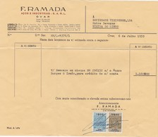 PORTUGAL COMMERCIAL INVOICE - F. RAMADA - OVAR     - FISCAL STAMPS - Portugal
