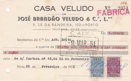 PORTUGAL COMMERCIAL INVOICE - CASA VELUDO  - PORTO     - FISCAL STAMPS - Portugal