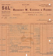 PORTUGAL COMMERCIAL INVOICE - HERBERT W. CASSELS & FILHOS   - PORTO     - FISCAL STAMPS - Portugal