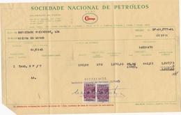 PORTUGAL COMMERCIAL INVOICE - SOCIEDADE NACIONAL DE PETROLEOS - SONAP - OIL -  PETROLEUM - PORTO - FISCAL STAMPS - Portugal