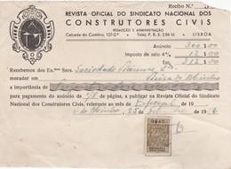 PORTUGAL COMMERCIAL INVOICE - REVISTA OFICIAL DO SINDICATO DOS CONSTRUTORES CIVIS   - LISBOA  - FISCAL STAMPS - Portugal