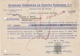PORTUGAL COMMERCIAL INVOICE - SOCIEDADE VENDEDORA DE CARVÕES NACIONAIS - BRIQUESTES DO PEJÃO   - PORTO  - FISCAL STAMPS - Portugal