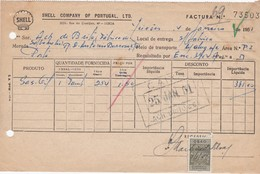 PORTUGAL COMMERCIAL INVOICE - SHELL COMPANY OF PORTUGAL - OIL - GAZ   - LISBOA  - FISCAL STAMPS - Portugal