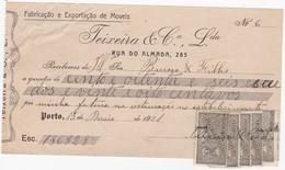 PORTUGAL COMMERCIAL INVOICE - TEIXEIRA & COMPANHIA -  MOVEIS - PORTO   - FISCAL STAMPS - Portugal