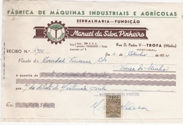 PORTUGAL COMMERCIAL INVOICE - FABRICA DE MÁQUINAS IND. E AGRICOLAS - TROFA    - FISCAL STAMPS - Portugal