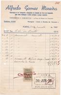 PORTUGAL COMMERCIAL INVOICE - ALFREDO GOMES MOREIRA - DESPACHOS DE CAMINHO DE FERRO - PORTO   - FISCAL STAMPS - Portugal
