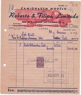 PORTUGAL COMMERCIAL INVOICE - CAMIONAGEM - MODÊLO - LISBOA    - FISCAL STAMPS - Portugal