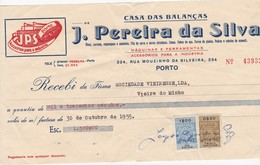 PORTUGAL COMMERCIAL INVOICE - CASA DAS BALANÇAS - PORTO     - FISCAL STAMPS - Portugal