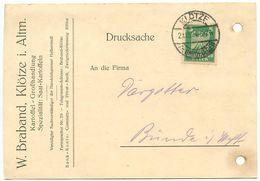 Germany 1924 Postcard Klötze - W. Braband To Bünde, Scott 331 - Germany