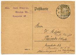 Germany 1927 Postcard Minden - Carl Breyer, Scott 330 - Germany